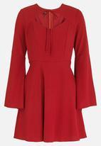 c(inch) - Tie Front Mini Dress Burgundy
