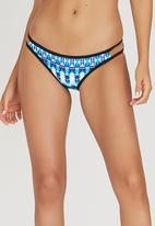 Sun Things - Aztec Strappy Bikini Bottoms Blue and White