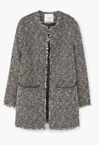 MANGO - Frayed Coat Black