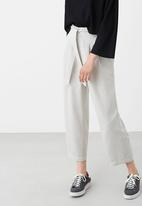 MANGO - Front Tie Detail Cropped Pant Stone