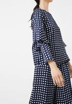 MANGO - Checked Ruffled Sleeve Blouse Navy