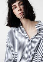 MANGO - Striped Long Sleeve Shirt Blue and White
