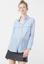 MANGO - Checked Flowy Shirt Blue and White