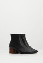 MANGO - Leather Contrast Heel Ankle Boots Black