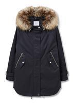 MANGO - Faux Fur Trimmed Parka Black