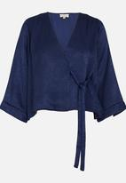 edit - Wrap Over Blouse with Kimono Sleeve Navy
