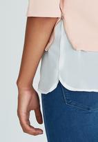 edit - Colour Block Side Zip Top Pale Pink