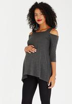 edit Maternity - Hanky Hem Strap Top Grey Melange
