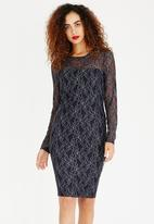 ONLY - Long Sleeve Lace Bodycon Dress Navy
