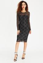 ONLY - Long Sleeve Lace Bodycon Dress Black