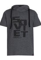 SOVIET - Printed Snood  Tee Dark Grey