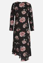 edit - Long Sleeve Asymmetric Dress Black
