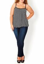 City Chic - Striped cami Black/White