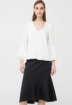 MANGO - Ruffled Sleeve Blouse Off White