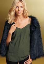 Next - Faux Fur Cape Black/Blue