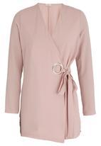 edit - Lightweight Wrap Front Jacket Pale Pink