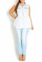 City Chic - Embellished denim and chiffon shirt pale Blue