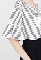 MANGO - Striped Ruffled Sleeve T-shirt Cream