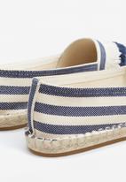MANGO - Striped Espadrilles Navy & White