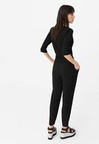 MANGO - Drawstring Trousers Black