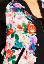 City Chic - Floral bomber jacket Multi-colour