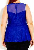 City Chic - Peplum lace top Cobalt