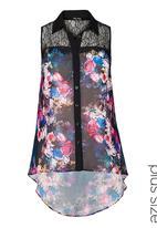 City Chic - Floral lace shirt Multi-colour