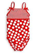 Next - Striped swimsuit Red