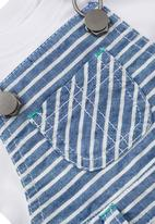 Next - Fine Stripe Dungarees With Bodysuit Blue/White