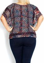 City Chic - Floral flutter-sleeve blouse Multi-colour