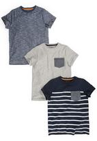 Next - Textured Stripe And Plain T-Shirts 3-Pack Multi-Colour
