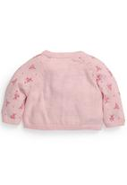 Next - Pink Ditsy Character Knitted Cardigan Pale Pink