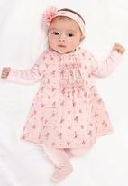 Next - Ditsy Cord Dress And Stripe Body 2-Piece Set Pale Pink