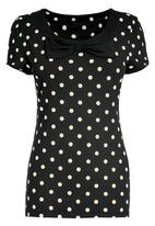 Next - Black spotted bow top Black/White