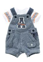 Next - Awesome Cropped Dungaree And Bodysuit Set Blue/White