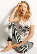 Next - Graphic legging pyjama set Black/White