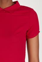 Sensation - Georgette Peter Pan Collar Top Red