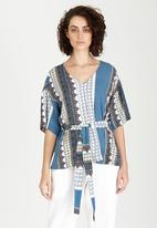 Jenja - Printed Belted Tunic Top Mid Blue