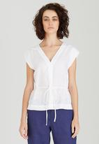 Jenja - Linen V-neck Top with Ties White