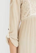 G Couture - Mixed Fabric Tunic Dress Stone