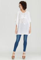 G Couture - Lace Inset Batwing Tunic Top White