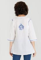 G Couture - Border Embroidered Tunic Top Blue and White