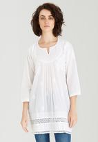 G Couture - Embroidered Notch Neck Tunic White