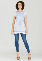 G Couture - Notch Neck Embroidered Top Blue and White