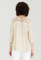 G Couture - Top with Mesh Embroidered Yokes Stone