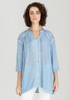 G Couture - Crushed Gypsy Top Pale Blue