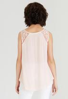 G Couture - Mesh Embroidered  Shoulder Yoke Top Pale Pink