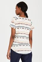 JEEP - Linen Tribal Print Tee Off White
