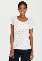 JEEP - Printed Linen Fashion Tee Off White