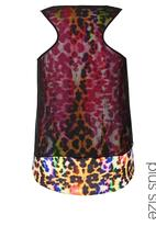 City Chic - Layered neon animal-print top  Multi-colour